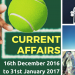 Improve Current Affairs: Know 62 Important Happenings Between 16th December 2016 to 31st January 2017